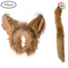 F276 Life-like Traje Animal Orelhas Headband Conjunto Cauda Animal Do Jardim Zoológico Festa Cosplay Mascote Raposa Traje Animal