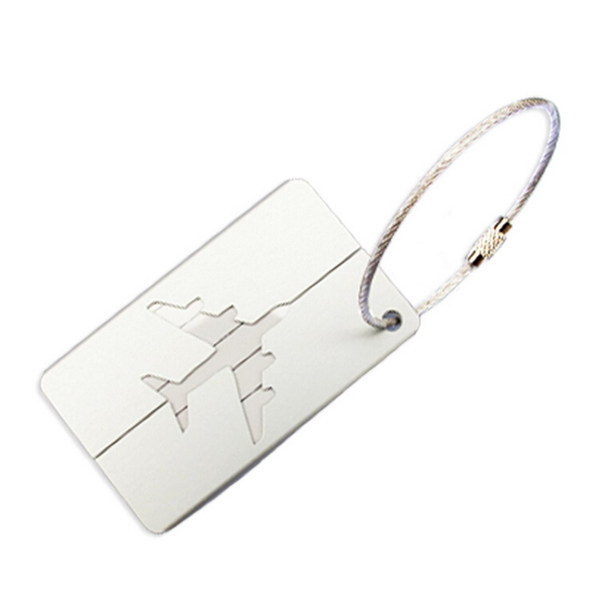 FENICAL Travel Luggage Tag Aluminum Airplane Luggage Tag Baggage Handbag Tag (Silver)