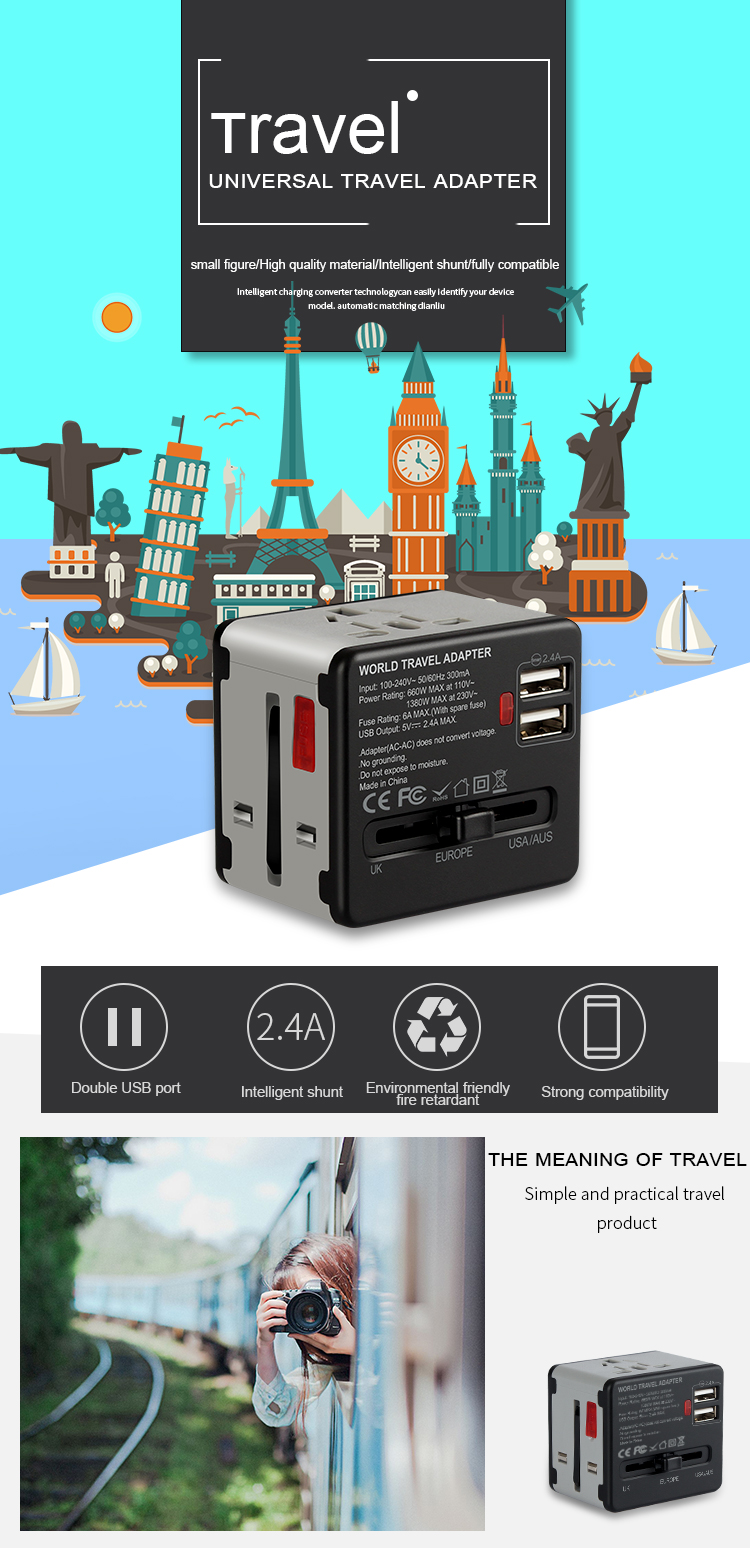 Worldwide travel adapter power adaptor multiple plug socket travel USB charger