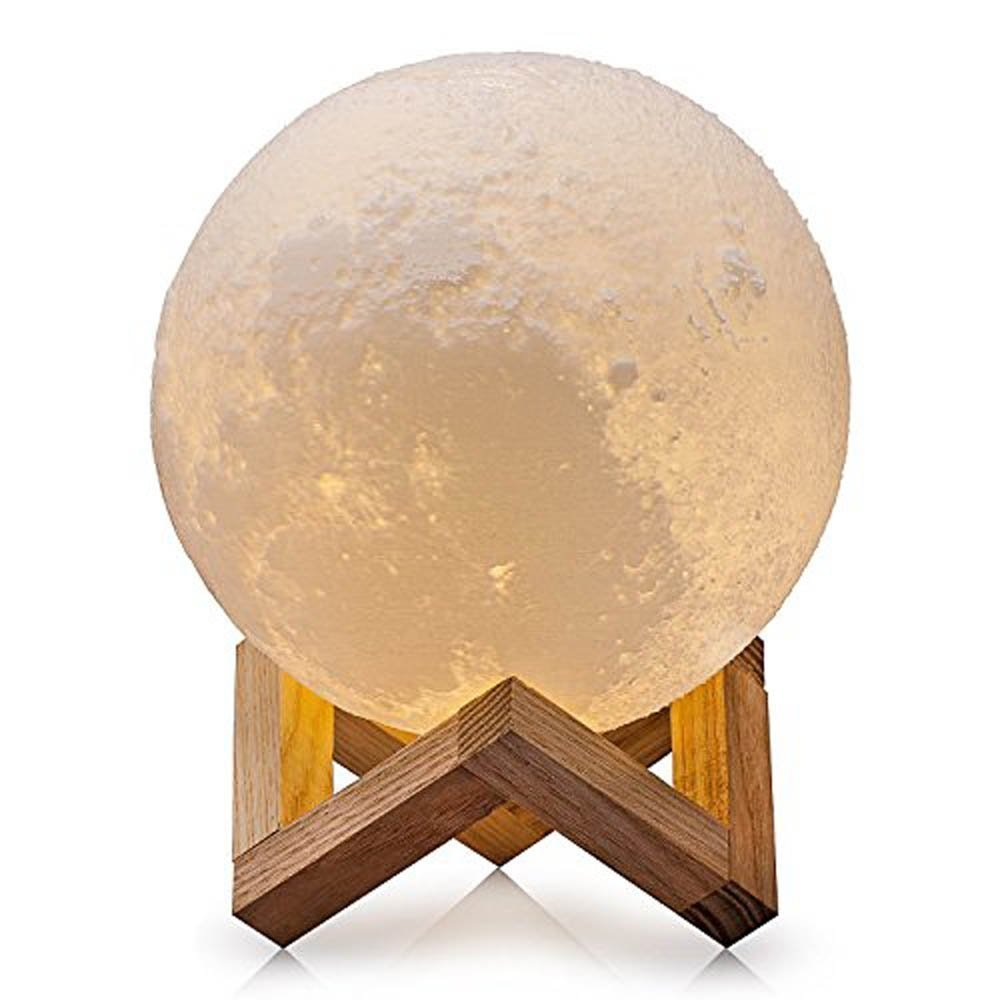 Meetneed Moon Lamp, 3D Printing Moon Light, Dimmable LED Luna Moon Lamp,Touch Control USB Rechargeable Home Decorative Night Light with Wood Stand,1 LED Lamp Bead, Diam 3.9 inch