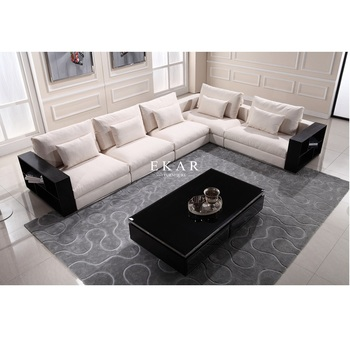 Comfy Linen Cream White Couch Wide 7 Seater Sofa With Wooden Armrest L Shaped Sectional Modern Fabric Sofas Product On