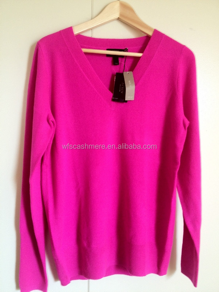 Fluorescent color cashmere knit sweaters for ladies