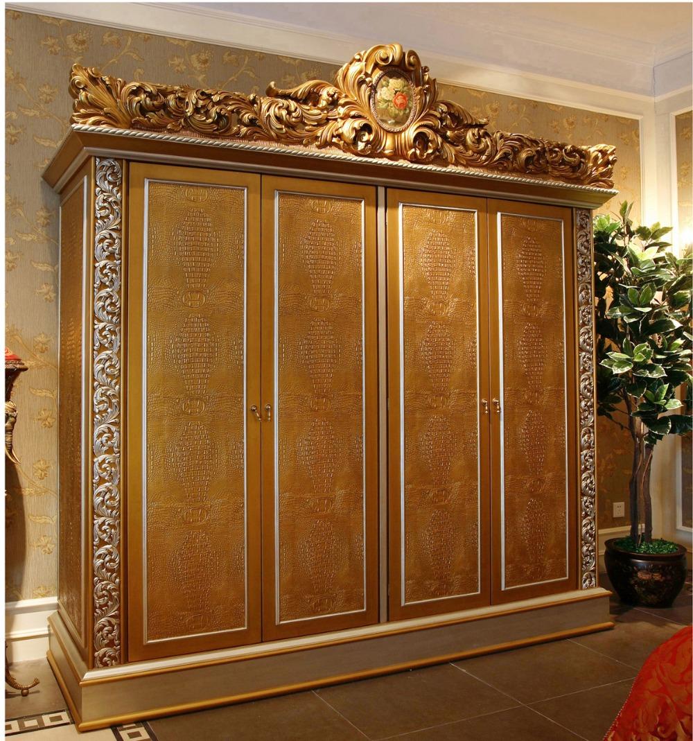 Luxury French Rococo Style Golden Four Door Wardrobe