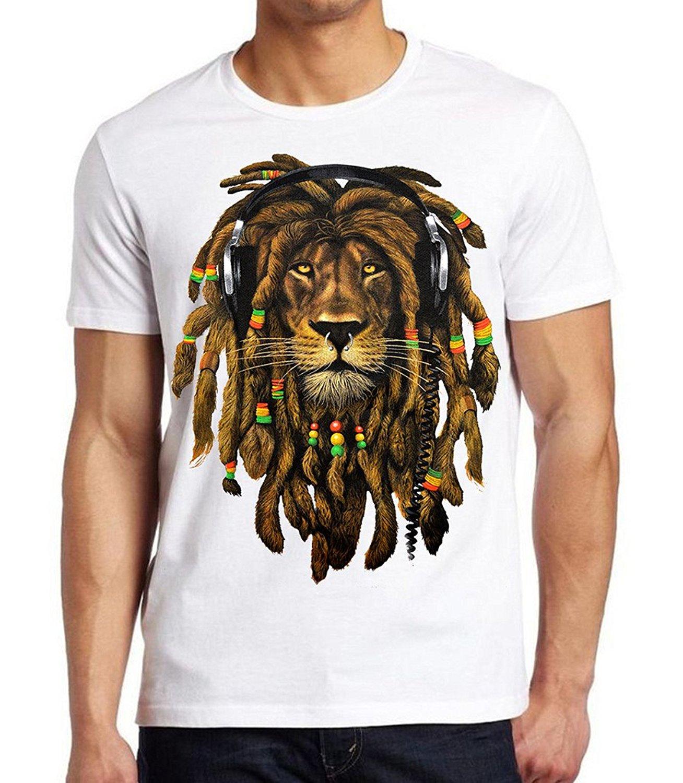 5c21d8be620 Get Quotations · Men s Dreadlock Rasta Lion Headphones White T-Shirt White