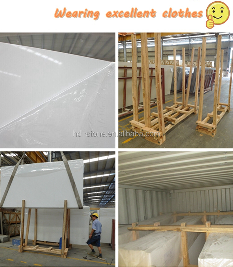 Artificial Polished Pure White Quartz Stone Big Slab for Countertops and Floor