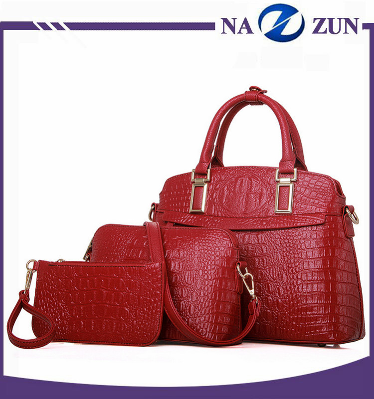 fashionable hot sale 3 pcs in 1 set bags new design brand handbag winter style online shopping women cheap handbag leather