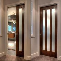 Interior wood sliding /pocket glass door wood door