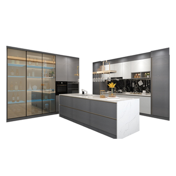 Factory price house project provide free 3D design UV lacquer kitchen cabinet design