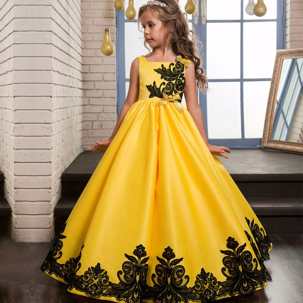 Goood quality premium wedding party wear puffy maxi dress 8 years children girl dress