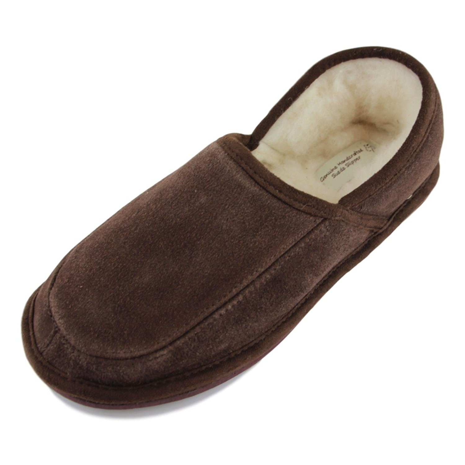c4b4b7f84cb Get Quotations · Sheepskin World Deluxe Mens Lambswool Slippers With Hard  Sole - Suede Upper