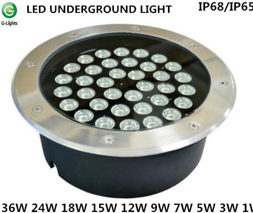 CE ROHS approved stainless steel RGB/full single color remote/internal control 36W 18W 12W 3W IP68/IP65 LED underground light