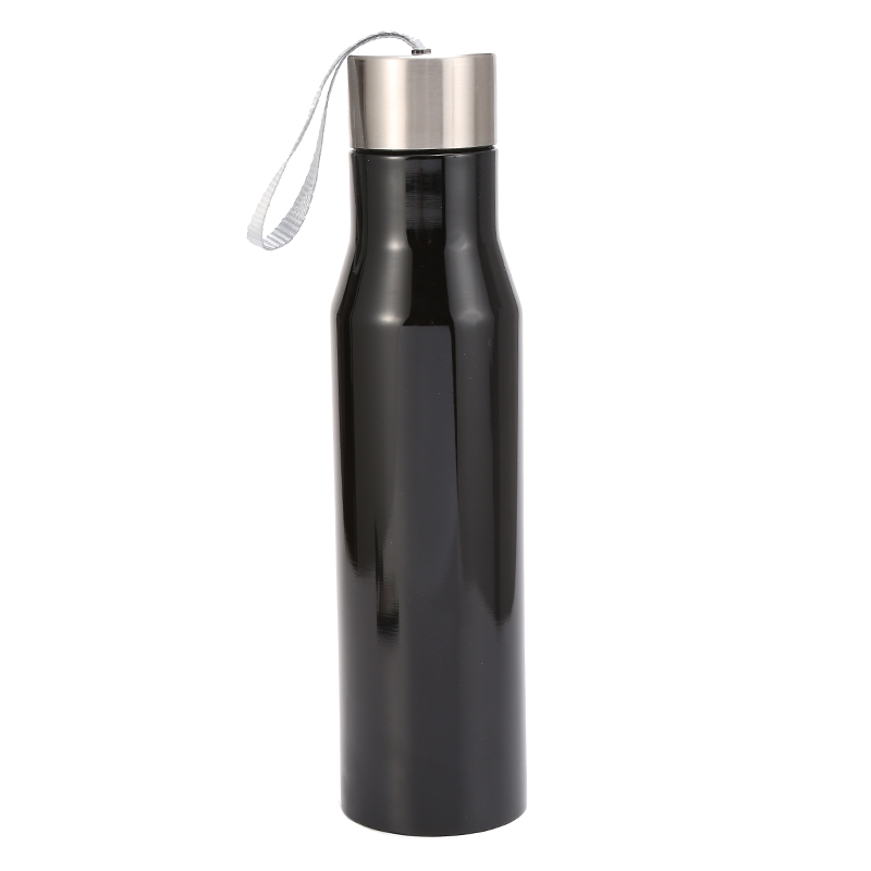 hot selling Stainless steel metal blue color bpa free with printing vacuum insulated stainless steel water bottle with string