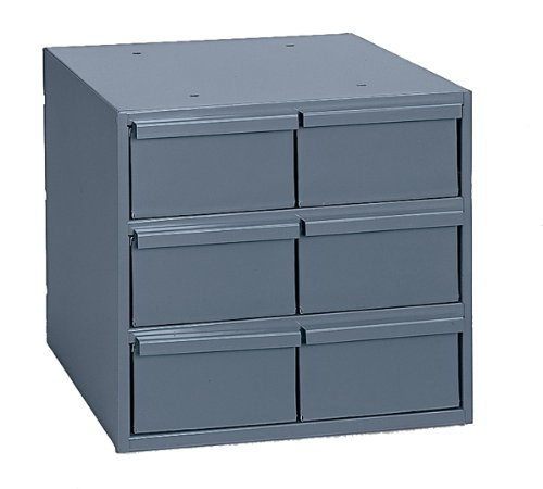 "Durham 001-95 Gray Cold Rolled Steel Vertical Storage Cabinet, 11-3/4"" Width x 10-7/8"" Height x 11-5/8"" Depth, 6 Drawer"