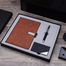 PU Leather Notebook Gift Set for VIP and Office with metal pen, PU name card holder,metal opener with Customized logo