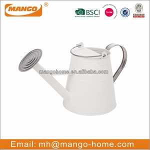 Long Reach White Cone Garden Paint Metal Watering Can