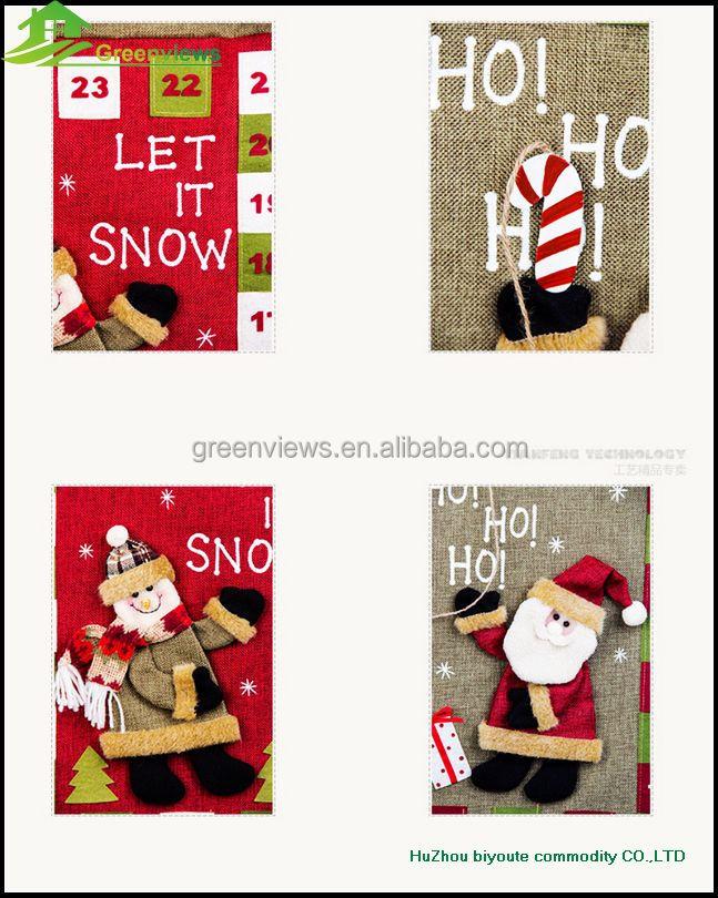 calendario de navidad en tela de fieltro de navidad calendario de adviento de peluche de navidad