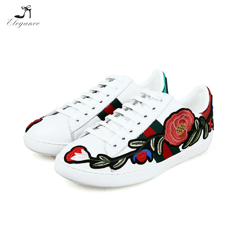 2017 Wholesale China Manufacturer Running Plain Sneakers Lace Up Flower Embroidery Women White Shoes