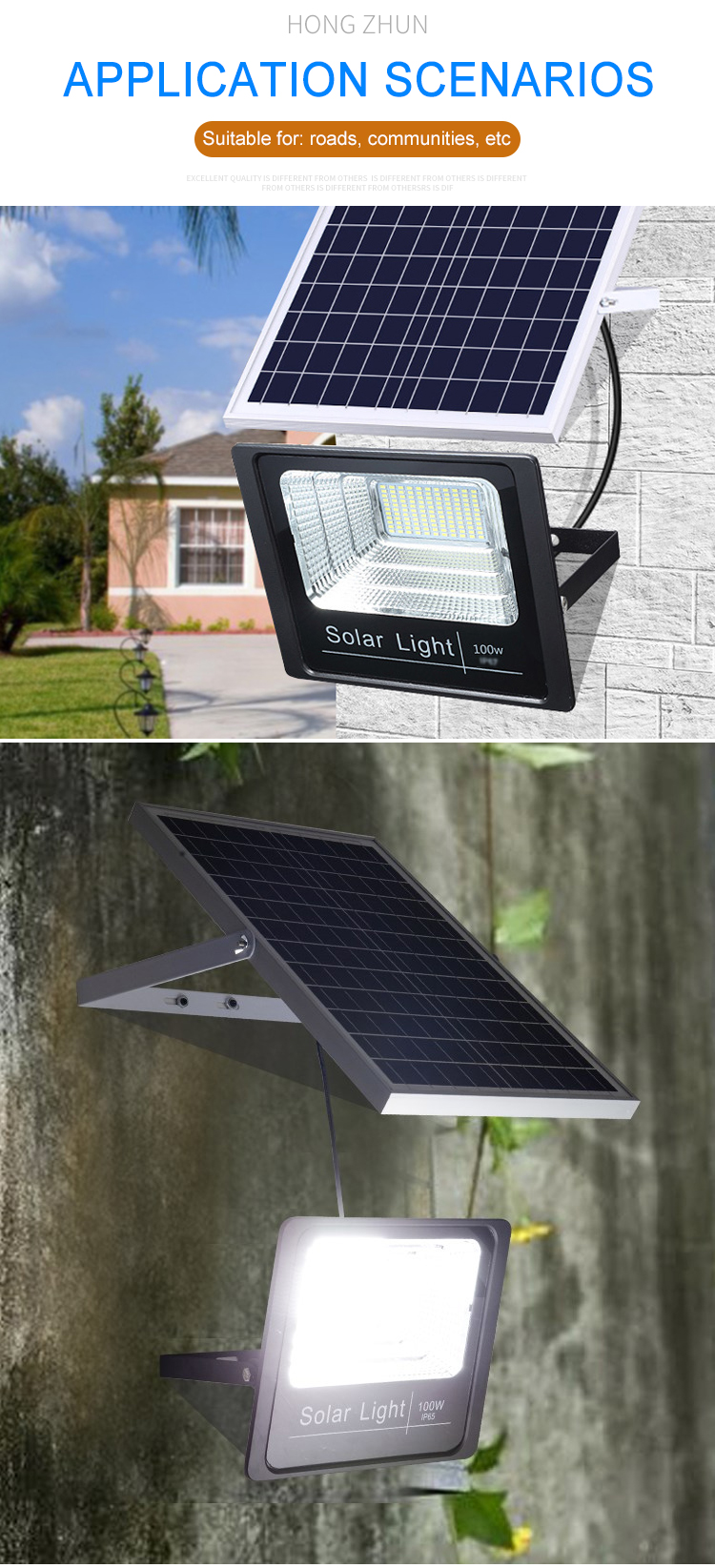 IP67 LED solar flood light 10w 25w 40w 60w 100w 120w 200w new design good quality