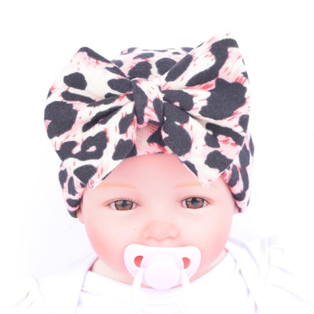 4244c0e1608 Fullkang Newborn Hospital Hat Newborn Baby Hats With Flower Bowknot Flower  (Leopard Pink)