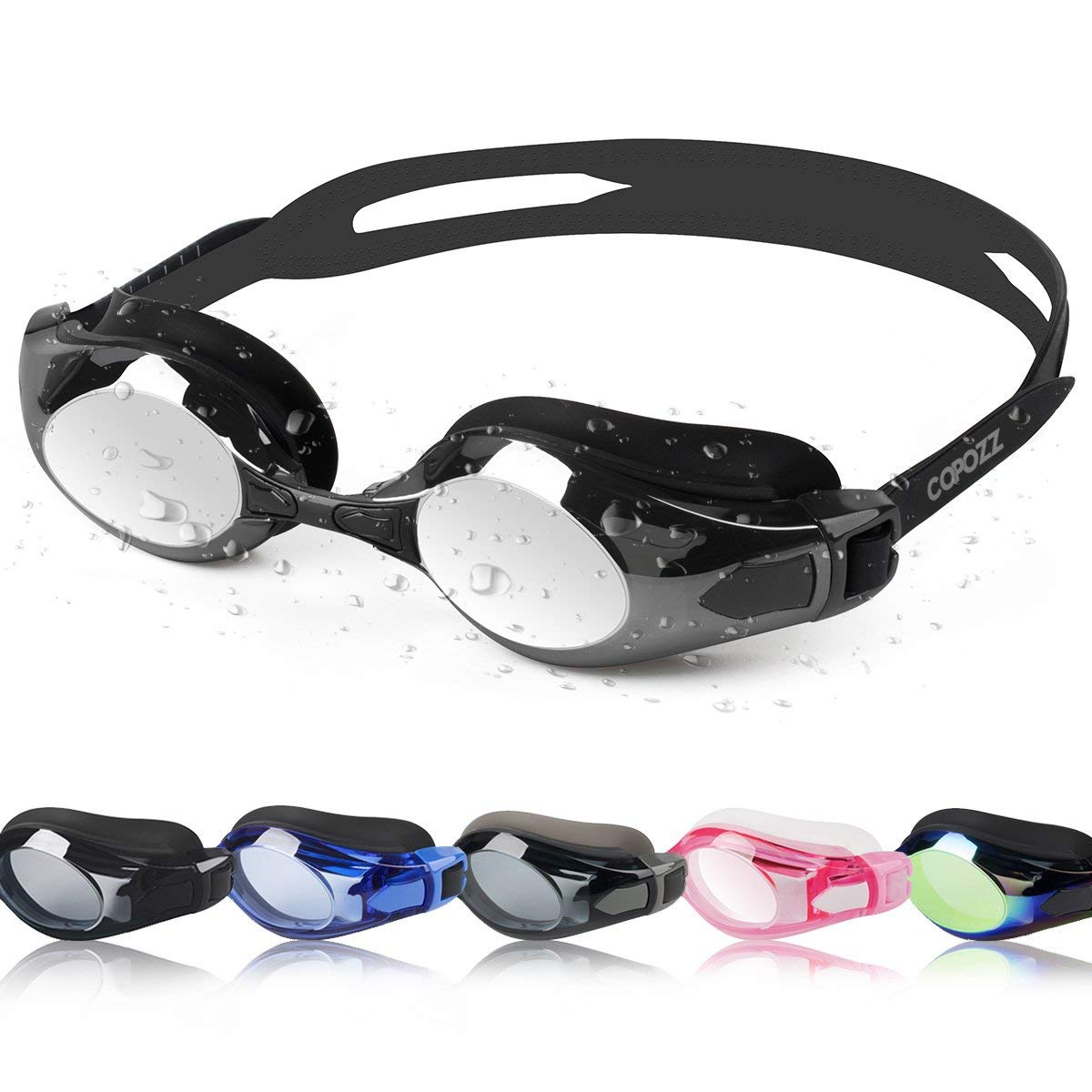 baef2e96ca4b Get Quotations · COPOZZ Swimming Goggles Double Anti Fog Swim Goggles  Mirrored Tinted Lens Crystal Clear Vision No