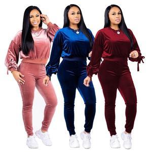 Blank custom ladies 2 piece jogging suits wholesale