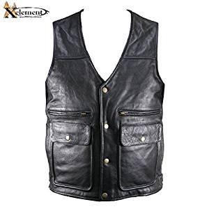 Xelement B26035 Mens Fisherman Cut Leather Vest - Large