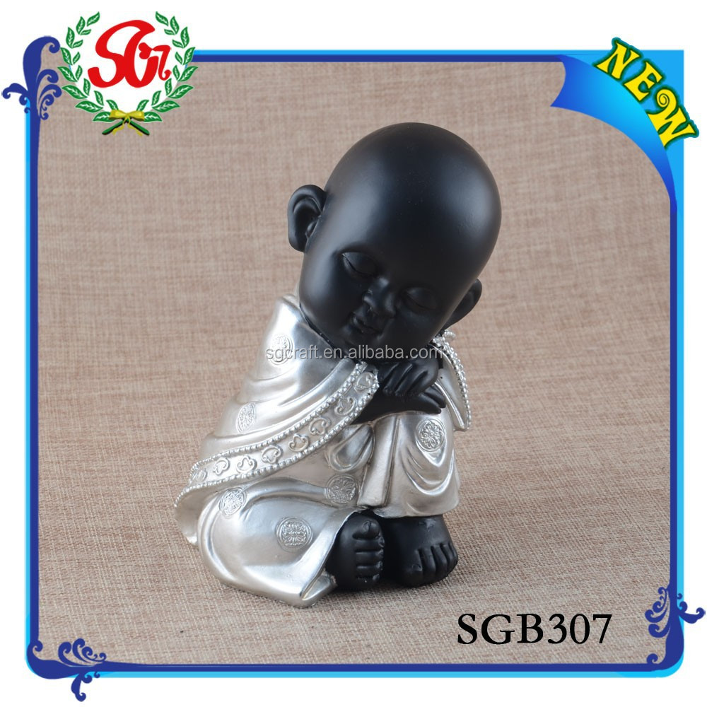SGB307 Home Indoor Decoration Silver And Black Buddha Statue, Buddha Sleeping