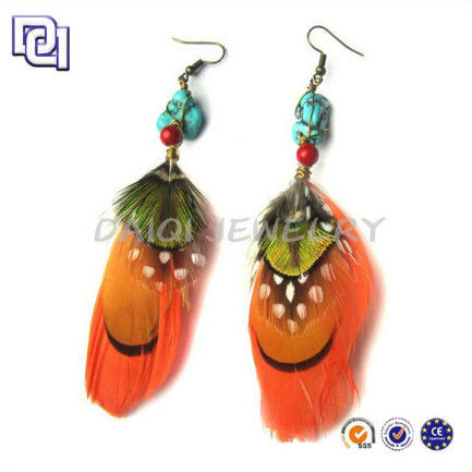 FINE JEWELRY EARRING FOR DIAMOND PRICE PER CARAT,COLORFUL PURE GOLD EARRING FOR AFRICAN GIRL,FEATHER FASHION ACCESSORY WHOLESALE