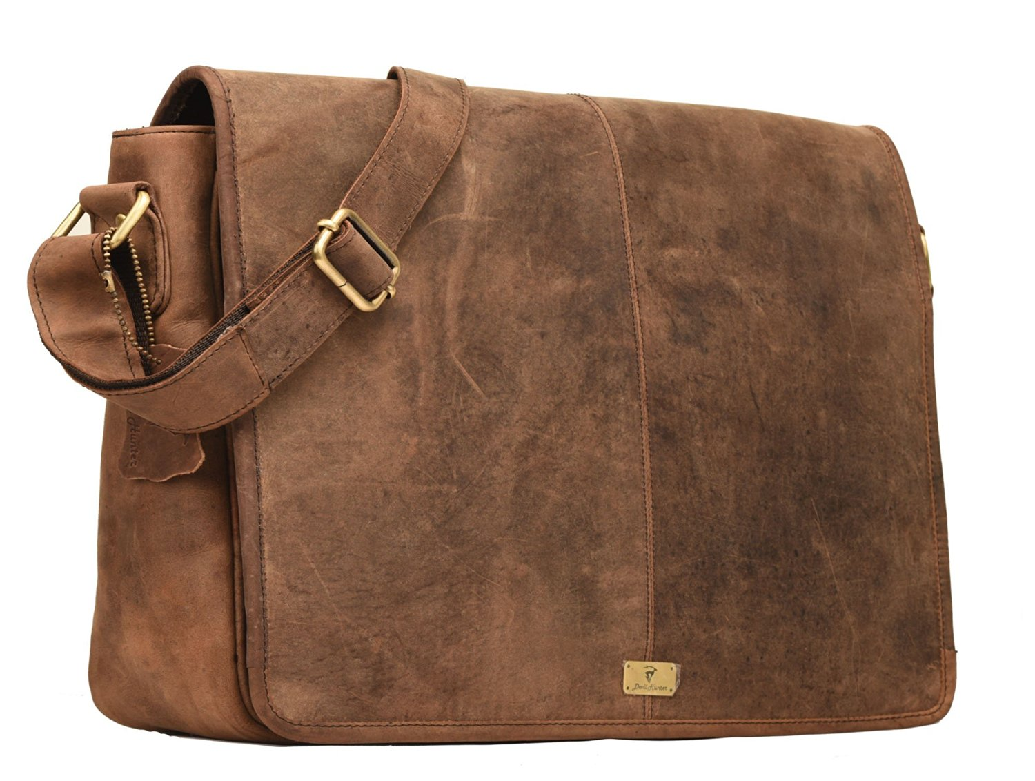 DH Rohtaang Leather Unisex Real Leather Messenger Bag for Laptop Briefcase Satchel ...