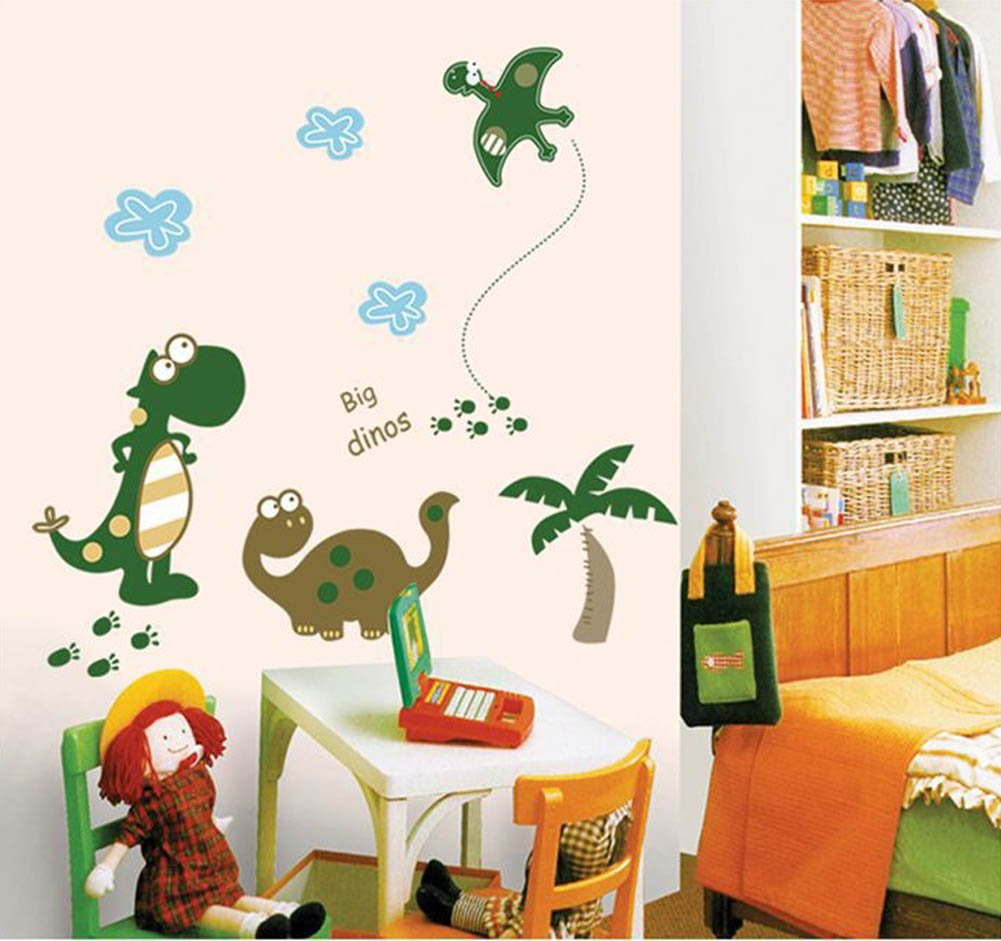 Lchen Fashionable Big Dinos Design Cartoon Dinosaur Wallpaper Removable Wall Decal Sticker