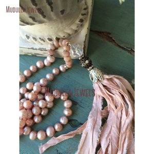 NM11398 Boho Glam Pink Pearl Bead Sari Silk Ribbon Czech Glass Necklace Shabby Chic Festival Jewelry Statement Necklace