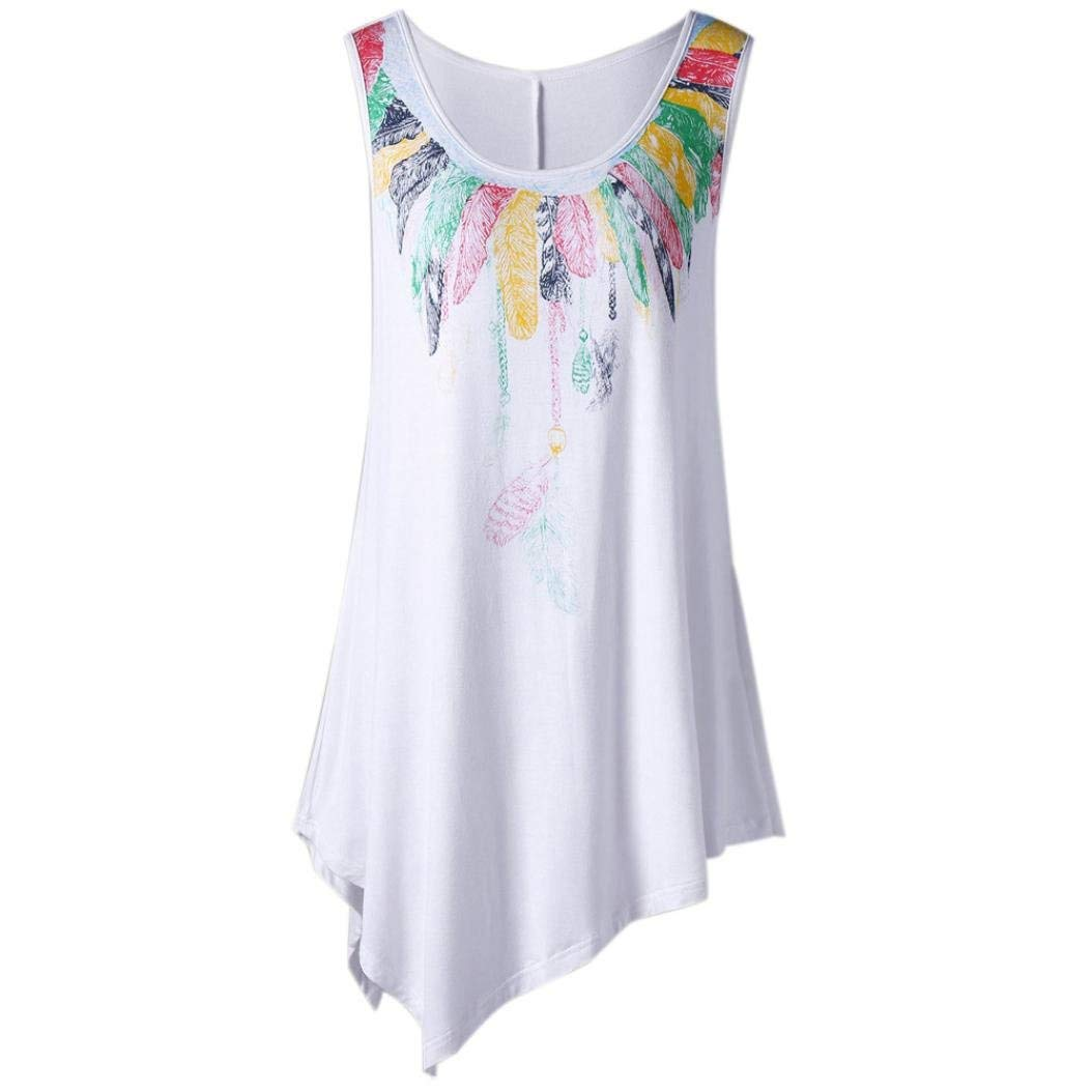 Womens Top, Franterd Summer Plus Size Sleeveless Musical Note Feather Print Asymmetric Slim Shirts Dressy Tunic Vest Loose Blouse