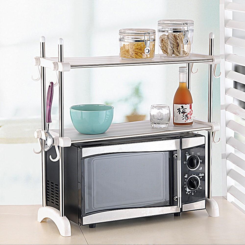 Stainless steel kitchen microwave shelf organizer