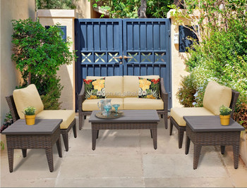 4 Seater Modern Home Balcony Garden Rattan Coffee Table Set With One ...