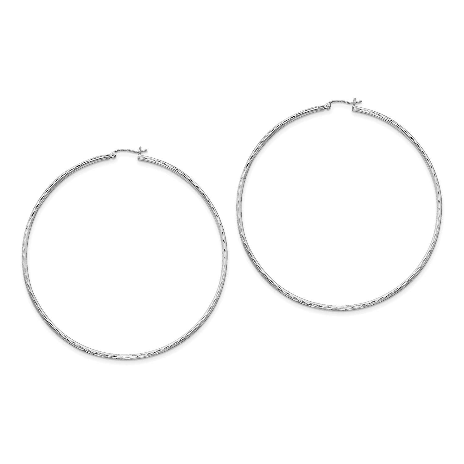 .925 Sterling Silver Rhodium-plated Polished & Diamond-cut Hoop Earrings 2mm x 82mm