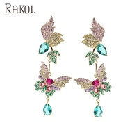 Rakol ZE1058 customize lovely jewelry butterfly CZ auqa blue diamond long drop earrings for gift