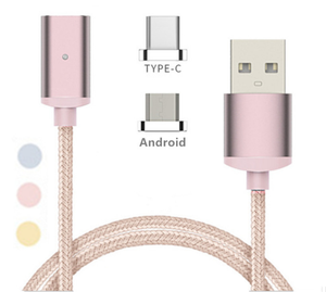 Magnetic Cable Nylon Braided Micro USB Type-C 3 in 1 Data Magnet Fast Charging Cable For Iphone 7 for Samsung for Xiaomi Huawei