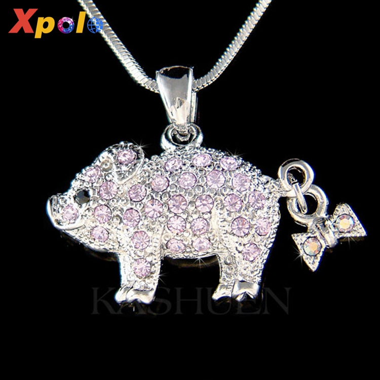 XP-CN-1107 cheapest price Pig Piggy Piglet Animal Charm Necklace Jewelry for Christmas