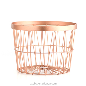 Wholesale storage type and home decoration copper coated iron wire rock wire mesh storage baskets
