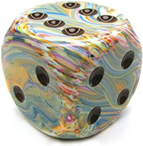 Custom & Unique {XXL Size 50mm} 1 Ct Single Unit of 6 Sided [D6] Playing & Game Dice w/ Rounded Corner Edges w/ Fun Vibrant Artistic Paint Collage W/ Pips Design [Blue, Orange, Green & Beige Colored]