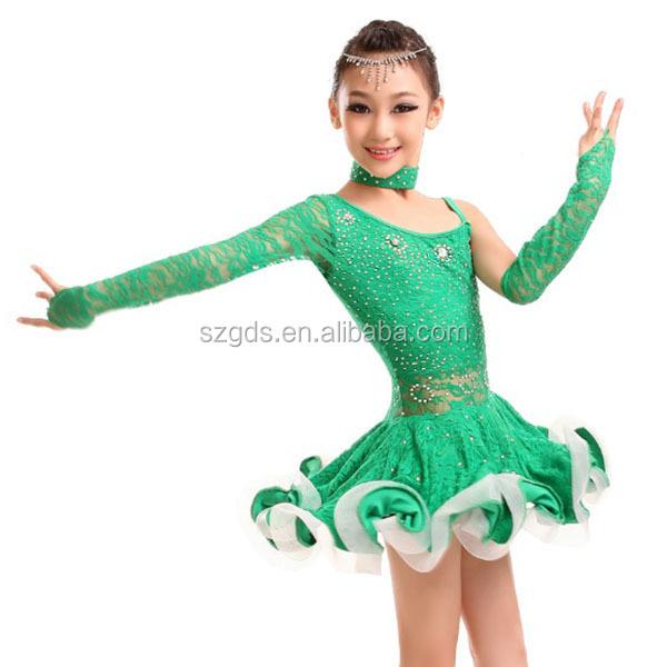 0af3753d341f High quality new hot leopard sexy performance costume long sleeve kids  ballroom latin dance dress cheap