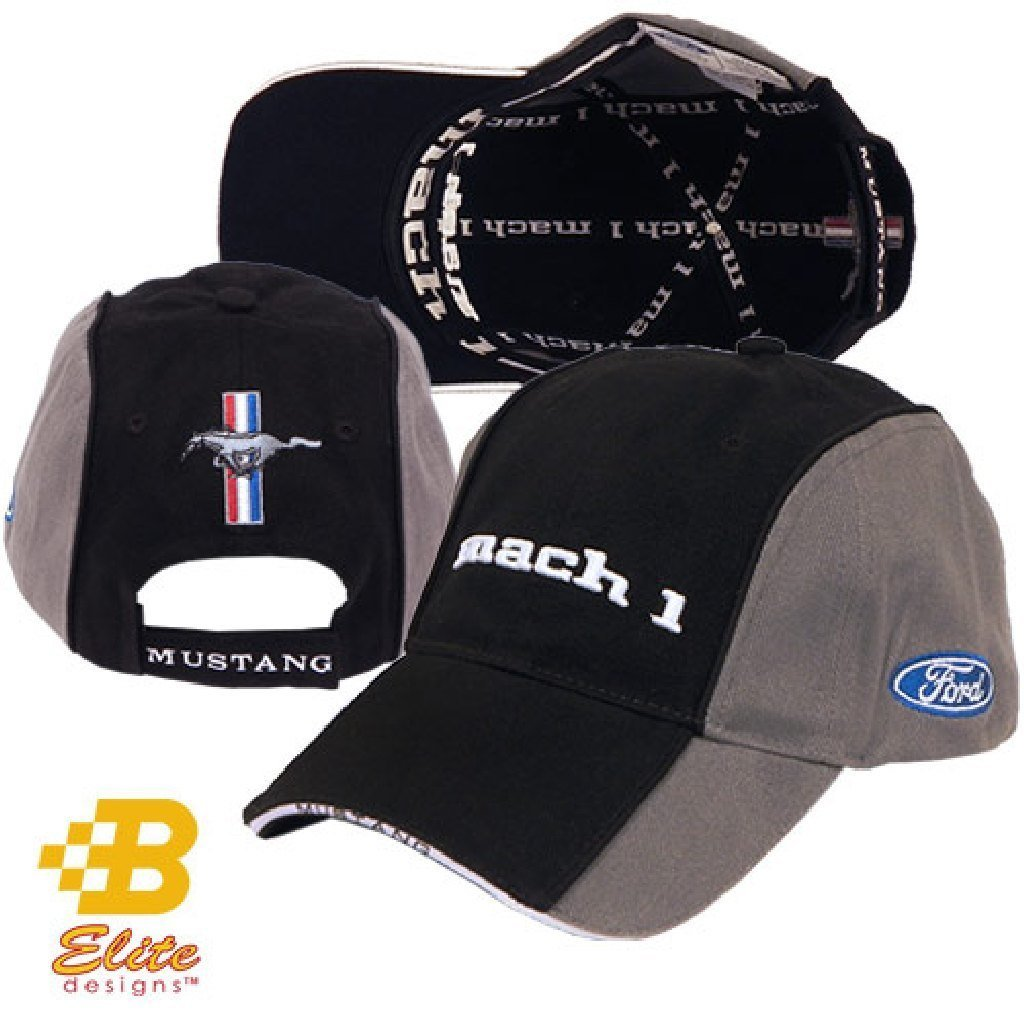 cedc255ea38 Get Quotations · Ford Mustang Mach 1 Black   Gray Hat -BDFMEH161