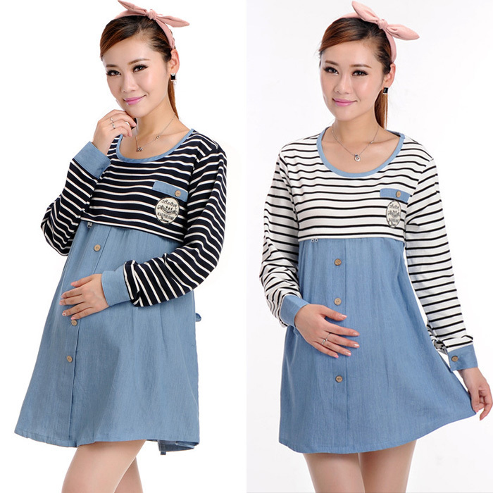 5f281ac957 Get Quotations · Big Size Cotton Striped Patchwork Casual Maternity Dress  Dresses