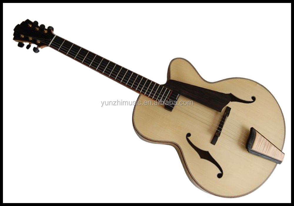 Fully Handmade Solid Maple Wood Hollow Body Archtop Electric ...