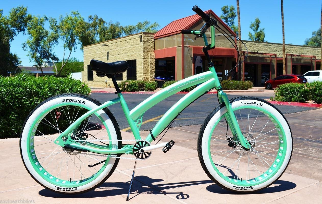26x4 Fat Tire Beach Cruiser Bike - SOUL MISS STOMPER - MINT GREEN 3 speed ladies