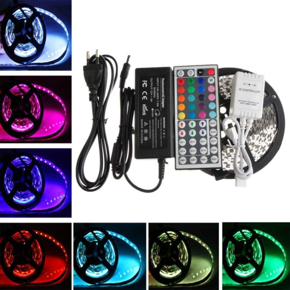 Rumas Waterproof LED Strip Light with 24 Key Remote Control - 2-Pack RGB 5050 300 LEDs - Multicolor Light String for Home Lliving Room Countyyard Bar (UK)