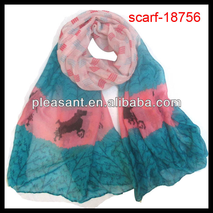 scarf with animal pocket horse