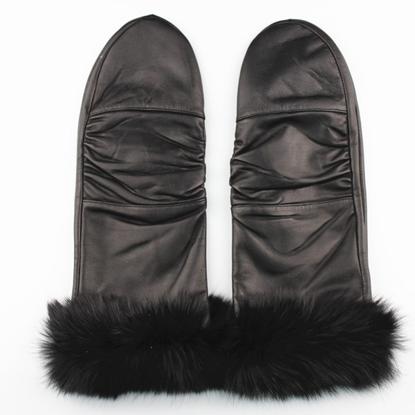 Winter leather gloves mittern with rabbit fur fake fur lined