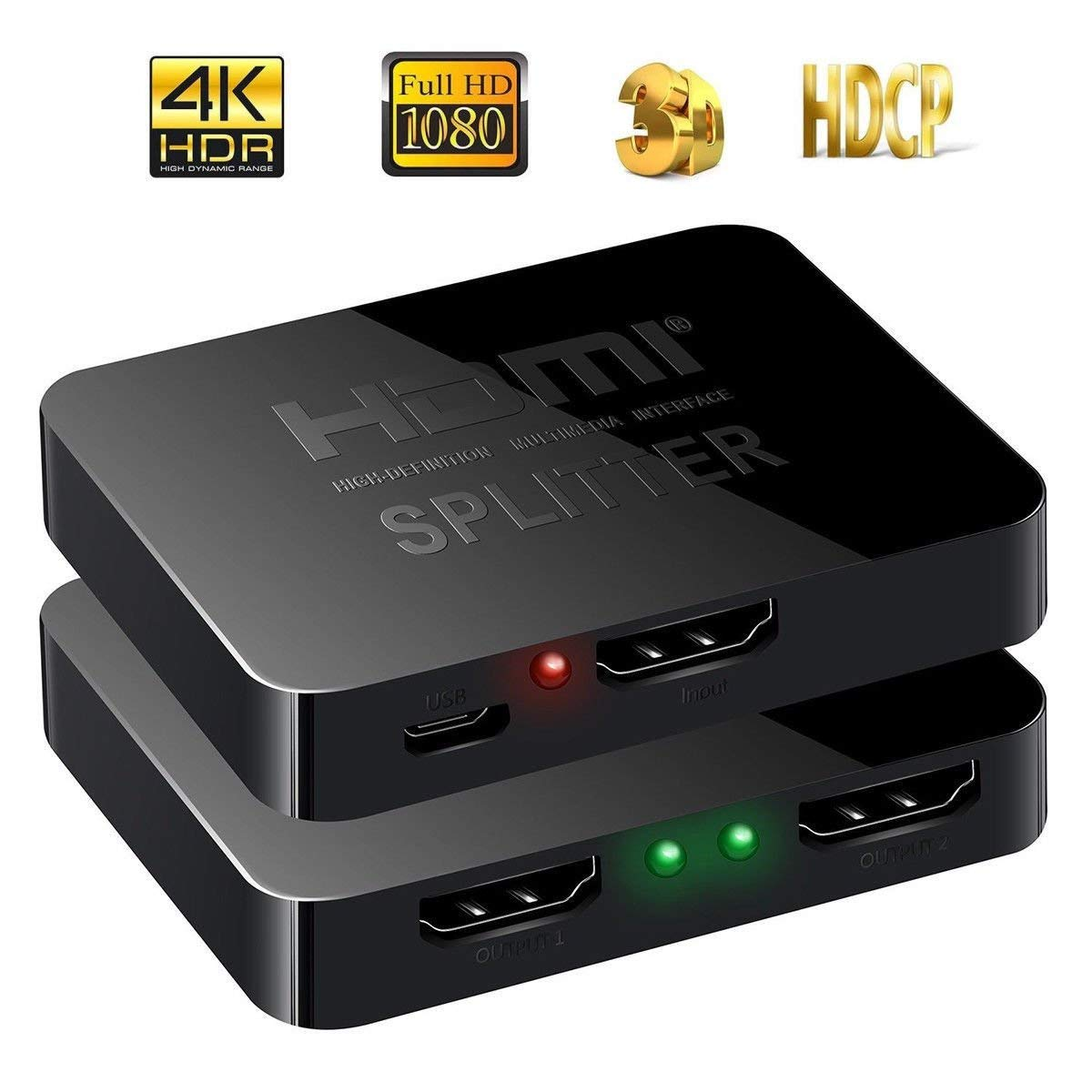 FidgetFidget Switcher+Cable 2 Port HDMI Bi-directional 2x1 Switch 1x2 Splitter Selector 4K 3D