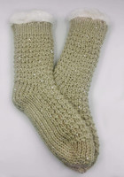 The New wholesales girls Sequined knitting Iceland yarn acrylic beige socks
